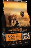 ΟΛΙΣΤΙΚΗ ΞΗΡΑ ΤΡΟΦΗ AMBROSIA GRAIN FREE ADULT & STERILIZED CAT - Φρέσκια Γαλοπούλα & Ρέγγα 2kg