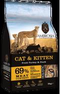 ΟΛΙΣΤΙΚΗ ΞΗΡΑ ΤΡΟΦΗ AMBROSIA GRAIN FREE CAT & KITTEN - Φρέσκια Γαλοπούλα & Πάπια 2kg